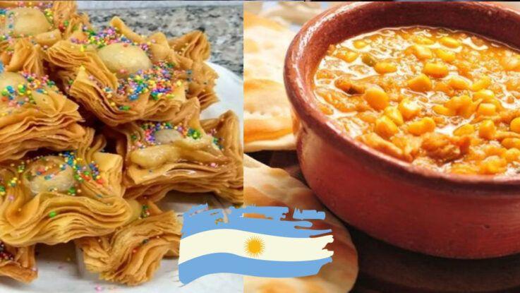 Pastelitos y locro típicas comidas argentinas el 25 de Mayo